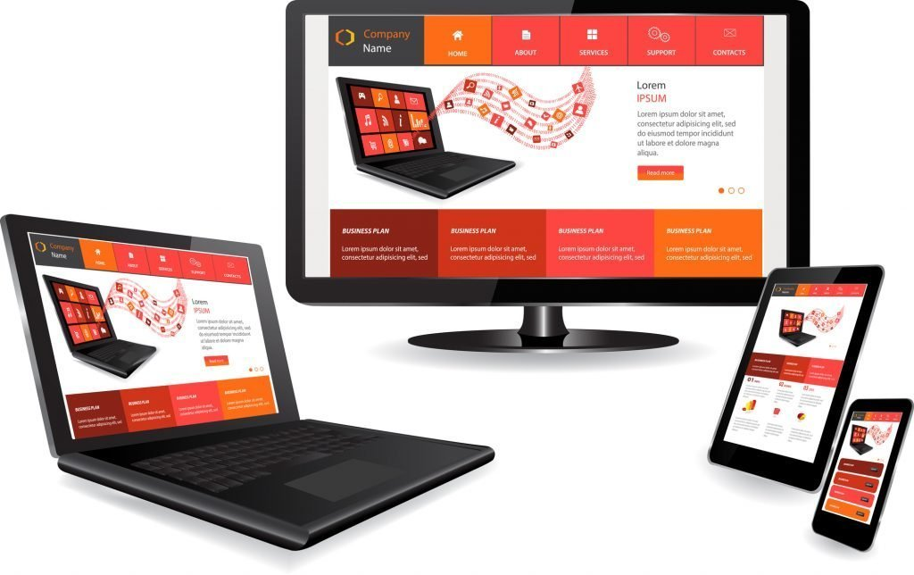 The responsive web design on multiple devices